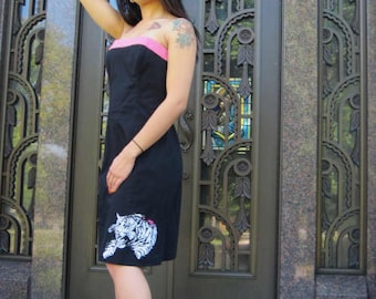 SALE Close out! womens dress size 4 OOAK Tiger tattoo recycled strapless pinup rockabilly psychobilly glamor anchor punk