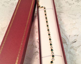 Emerald Green and Clear Rhinestone Tennis Bracelet in Gold Tone Setting, Prong Set Stones, Faceted Crystal Stones, Beautiful Condition.