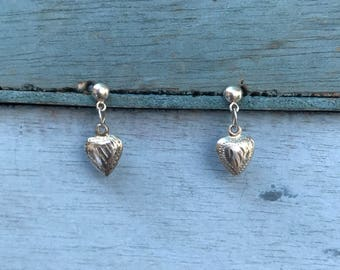 Little Dangling Heart Sterling Silver Stud Post Earrings 1g