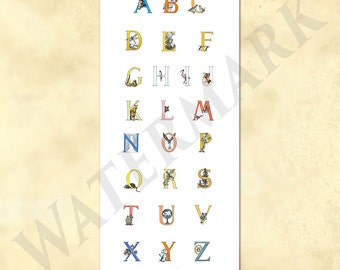 Vitage ABC Poster - Alphabet Poster - Alphabet Wall Art - Alphabet Print -  ABC Alphabet Letters from old book - Printable Download