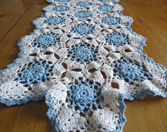 Vintage Doily Crocheted Large Doily Blue & White  Doilies  F8