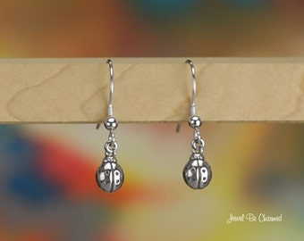 Tiny Sterling Silver Ladybug Earrings Pierced Fishhook Earwires .925
