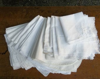28 MisMatched Napkins White Cottage Style Linens Cloth Dinner Napkins Wedding Decor Table Settings Cottage Chic Bridal Shower