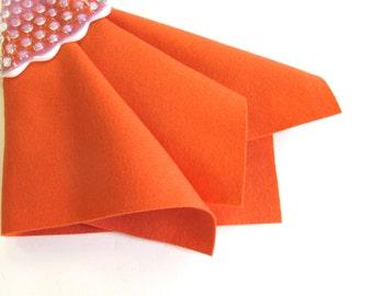 Shrimp Felt, Pure Merino Wool, Choose Size, Large Felt Sheet, Felt Square, Nonwoven Fabric, Dark Coral