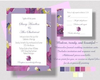 WEDDING INVITATION Suite Purple Watercolor Set   Garden Wedding Invitation Suite   Floral Watercolor in Purple, Lavender, Burgundy, Plum