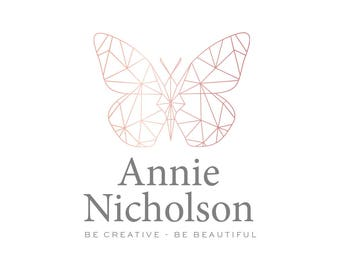 Logo Design Branding Package Premade Graphics Custom Text Geometric Butterfly Logo Rose Gold Pink Purple Watercolor Circle