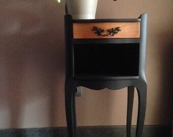 Table de chevet baroque noire mat
