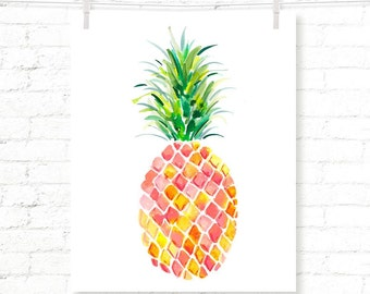 Pineapple - Tropical - Fruit - Kids - Watercolor - Art Print - Wall Art