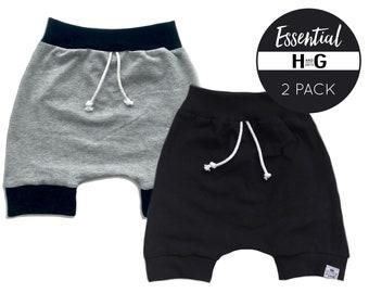 Black & Grey Harem Shorts- 2 Pack