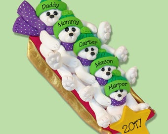 Polar Bear Family of 5 on SLED HANDMADE Polymer Clay Ornament - Personalized Christmas Ornament - Limited Edition