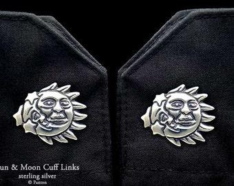 Sun & Moon Cuff Links Sterling Silver
