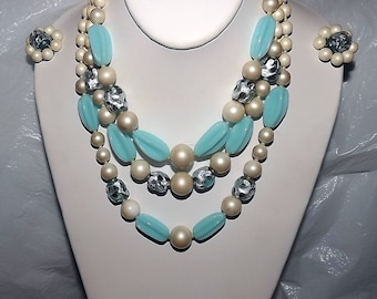 Barclay Venetian Murano Blue Silver Foil & Poured Glass Beads Necklace Earrings Set