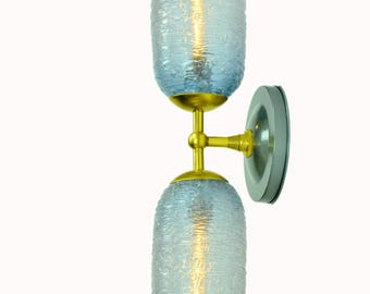 Periwinkle Leger Blue Spun Glass Double Wall Sconce with Brass fittings