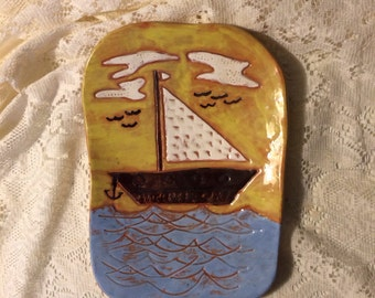 Vintage 1970's Retro Ceramic Nautical Sailboat Ocean Seagull Anchor Pottery Tray Hot Plate Trivet