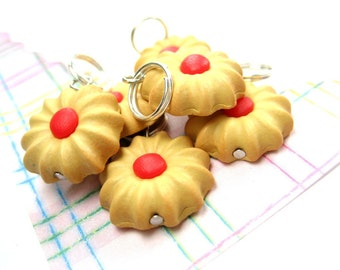 Butter Cookies Stitch Markers (Set of 6) food knitting stitch markers polymer clay