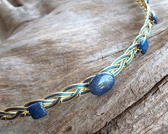 Celtic Wedding Circlet Gold and Blue Lapis Lazuli