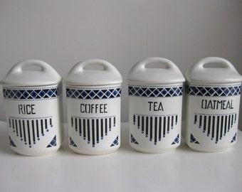 Vintage Czechoslovakia  ceramic canister set Blue and white canisters