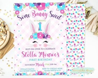 Bunny Face Invite, Bunny Birthday Invitation, Floral, Some Bunny Sweet, Girl Birthday Invite, Rabbit Birthday, Easter Invite, Spring Party