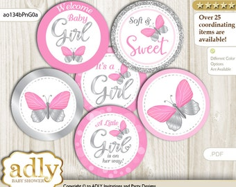 Girl Butterfly Cupcake Toppers for Baby Shower Printable DIY, favor tags, circles, It's a Girl, Summer - ao134bPnG0