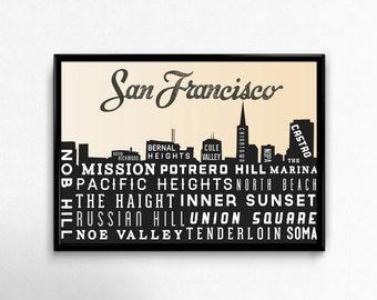San Francisco Skyline - San Francisco Poster - San Francisco Ca - San Francisco Print - Retro - Home Decor - Golden Gate Bridge Print