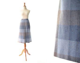 Plaid Skirt, Wool Skirt, Blue Skirt, Purple Skirt,  A line Skirt, Vintage Skirt, Womens Skirt, Schoolgirl Skirt, 1960s Skirt, 60s Skirt