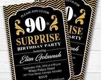 90th birthday invitations - 30th 40th 50th 60th 70th 80th 90th any age. Adult Birthday Invitation - Printable digital. No.112