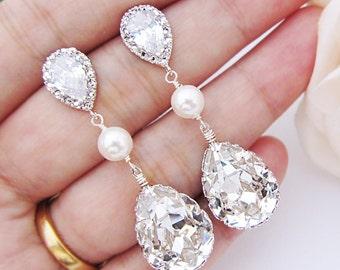 Bridal Earrings Swarovski Crystal with Pearl Drop Earrings Wedding Jewelry Bridesmaid gift Bridesmaid Earrings  dangle Earrings (E-B-0064)