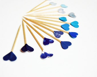 Blue Party Picks Hearts Cupcake Toppers
