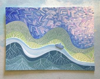 Au-dessus de mondes et mondes ci-dessous III - un collage original de petits mondes unique. Windy plumes ciel, petit bateau de papier.