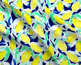 Yellow Blue Fabric - Bold Lemons Blue By Mjmstudio - Aqua Cotton Fabric By The Yard With Spoonflower