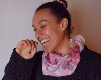 Silk Marbled Scarf, Handmade (Pink & Brown)