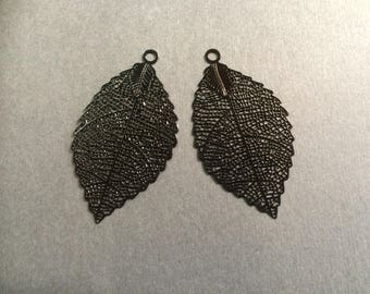 prints 6 openwork leaf 54mm black for creations of jewels