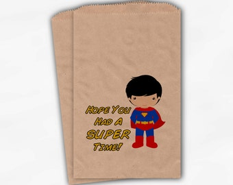 """Superhero Birthday Party Candy Favor Bags - """"Hope You Had A Super Time"""" Custom Kraft Paper Treat Bags for Kids - Set of 25 Bags (0021)"""