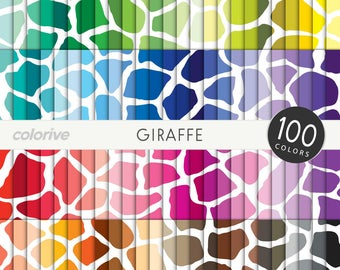 Giraffe digital paper 100 rainbow colors animal print wild giraffe skin zoo bright pastel printable scrapbook papers