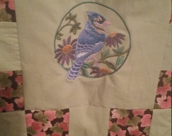 Embroidered Bird Lap Quilt