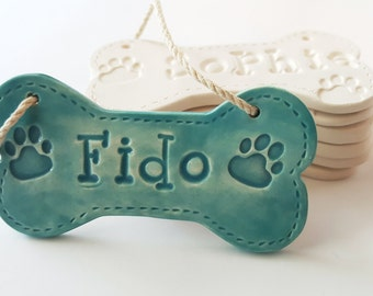 Dog Bone Ornament | Christmas Ornament | Personalized Dog Ornament | Custom Clay Ornament | Personalized Dog Bone with paw prints