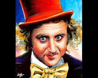 "Print 8x10"" - Willy Wonka - Gene Wilder Charlie and the Chocolate Factory Vintage Candy Yummy Funny Food Sweets Happy Pop Art Portrait Cute"