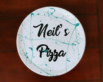Personalised Ceramic Pizza Plate Custom Colours Personalized Name & Pizza plates | Etsy