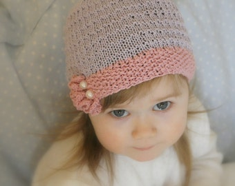 KNITTING PATTERN beanie ruffle hat Yasmine (baby, toddler, child sizes)