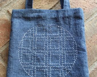 Small bag / Sashiko style stitching  / Denim / Simple / Unique
