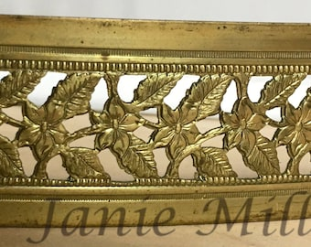 "Lamp Banding Brass 1 1/4"" pierced floral Leaves Texture for Rolling Mill"