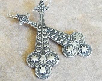 Long Sterling Silver Art Deco Earrings - Unusual Earrings - Handmade Sterling Earrings - PMC Earrings - Long Earrings - Roca Jewelry Designs