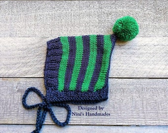 Knit Navy Emerald Green Pixie Bonnet Pom Pom Hat For Fall and Winter Chunky available, Baby Bonnets, baby shower gift, Bonnet Kids apparel
