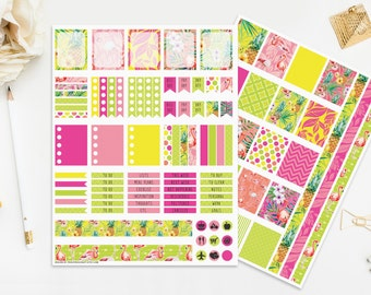 Flamingo Stickers, Tropical Summer Printable Stickers Planner, Neon Colors Pink Green Yellow, Digital Instant Download, Pineapple Print Cut