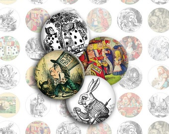 Alice in Wonderland 1-Inch Circles / Bottlecap Images / Vintage Original Tenniel Drawings / Fantasy Art / Digital Collage / Instant Download