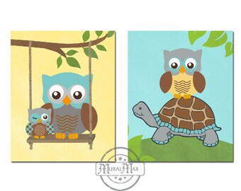 Nursery Owl Prints - wall art - Set of Two Prints Baby Boys Woodland Owl Nursery Art