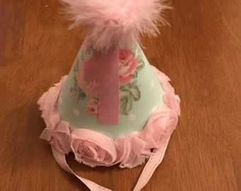 Light Aqua Blue and Pink Roses Birthday Party Hat