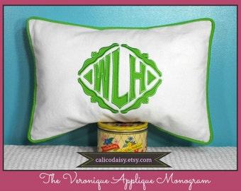 The Veronique Applique Framed Monogrammed Pillow Cover - 12 x 20 lumbar