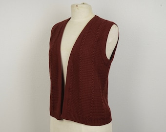 Rusty Red Brown Waffle Knit Vest 70s vintage Sleeveless Sweater Vest Medium