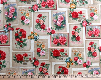 Heirloom Diary Antique Roses in Blocks w/ Words Robert Kaufman #6271 By the Yard